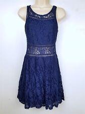 New Look Womens Lace Dress Size Medium Blue Sleeveless
