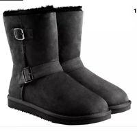 Kirklands Girls Shearling Buckle Boots Black Size 4 Natural Sheepskin Leather