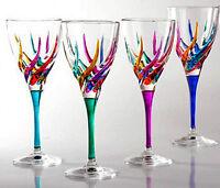 GLASSWARE - VENETIAN CARNEVALE WINE GLASSES - SET OF FOUR - HAND PAINTED CRYSTAL