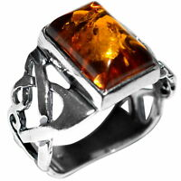 4.23g Authentic Baltic Amber 925 Sterling Silver Ring Jewelry N-A7005