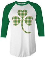 Plaid Shamrock Unisex Raglan T-Shirt St. Patrick's Day Irish Pride