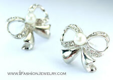 Silver Tone Bow Tie Ribbon Bowknot Stud Earrings Pearl Metal Hip Fashion Jewerly