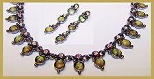 Anne Klein Green Moon Glow & Aurora Borealis Necklace & Matching Earring Set