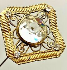 Antique Hatpin Very Large Faceted Center. 4 Smaller Accents on Ripples & Swirls