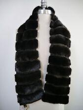 NEW LORO PIANA $7,000 dark brown mink fur suede detail cashmere lined wrap scarf