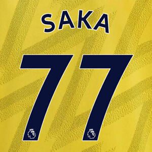 SAKA 77 19/20 PREMIER LEAGUE ARSENAL AWAY NAVY NAME & NUMBER SET = ADULTS