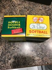 VINTAGE J DE BEER & SON DOUBLE HEADER OFFICIAL CLINCHER SOFTBALL F12 - 2 BOXES