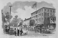 CIVIL WAR UNITED STATES ARMY SUPPLY TRAIN PASSING THROUGH HAGERSTOWN MARYLAND