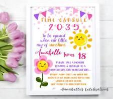 1st Birthday Time Capsule Sunshine Flower Garden Smile Girl - Print Invite Party