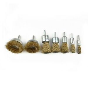 7Pcs/Set Drill Steel Wire Brushes Wheel Cup Metal Cleaning Rust Sanding Grinding