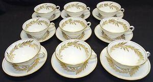 Minton England Malta 9 Coffee Cups & Saucers Gold -Bone China