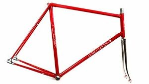 Vintage TRACK PISTA L.GUERRA Lugged Steel FRAME FORK set Made in Italy Campy