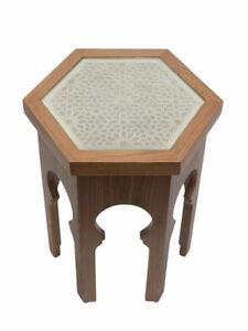 GUELIZ Hex Wooden Side Table with Glass - by Moroccan Bazaar