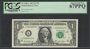 United State - Federal Reserve Note Fr 3001-L 2013 One Dollar FW Graded 67