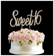 Diamante Rhinestone Gem Cake Pick Birthdays Anniversary Gold Number - Sweet 16