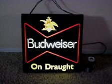 BUDWEISER BEER, ILLUMINATED WALL PLASTIC BAR SIGN, ELECT. CORD 110 VOLT, #1970's