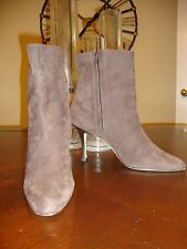 GORGEOUS NEW $995 TAUPE BROWN SUEDE ANKLE BOOTS BY MANOLO BLAHNIK