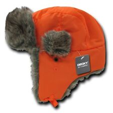 Orange Aviator Bomber Faux Fur Winter Ski Trooper Trapper Ear Flap Hat Cap L/XL
