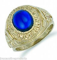 College Ring Solid Yellow Gold Blue Stone Graduation