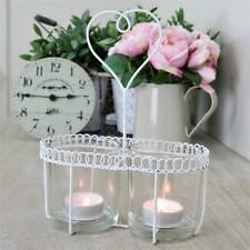 Heart tea light candle holder white French country chic vintage WAS £10