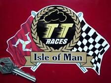"TT RACES Isle Of Man Flag & Scroll STICKER 6"" Manx GP Helmet Motorcycle Vinyl"