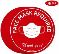 Pack of  10 Social Distancing Floor Stickers and Face Mask Required Signage
