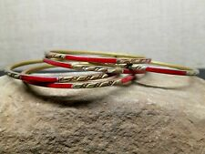 Rare Set 5 Vintage Brass Red Dyed Shell Inlay Carved Thin Bangle Stack Bracelets