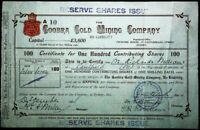 Scrip Australia 1921 - The Goobra Gold Mining Company, Sydney. 100 Shares