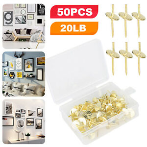 50Pcs Metal Picture Hangers Nails Photo Frame Hanging Wall Mount Hooks Kit 20lbs