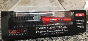 "TOOL SCIENCE Tourmaline 1""Ceramic Electric Brush Iron Straightens-Curls-Volumize"