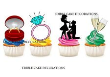 30 ENGAGEMENT PARTY STAND UP Cupcake Cake Topper Edible Fairy Paper Decoration