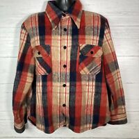 Vintage 1970's Montgomery Ward CPO Plaid Work Shirt Jacket Wool Linen Men's L
