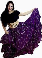 22.9m Danza Del Vientre Baile Algodón FALDA GITANA LILA LUNARES ats