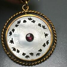 Antique Chinese Gold Fill mother of pearl gambling chip Amethyst Paste pendant