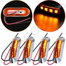 4x Amber Light Clearance Side Marker Truck Trailer w Chrome Cover Bezel 4LED