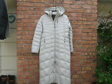 Lands End GREY Goose Down Quilted Hooded Parka Long Puffer Coat Jacket Womens M