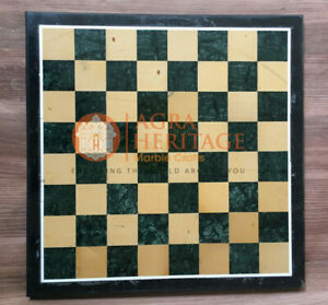 """15""""x15"""" Green Marble Chess Set Custom Table Top Inlay Stone Art Christmas Gifts"""