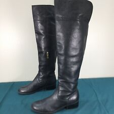 Used Tommy Hilfiger Black Leather Knee High Womens Boots sz 8 Heeled