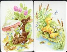 RABBIT AND DUCKS SWAP CARDS PAIR VERY BEAUTIFUL  (BRAND NEW)