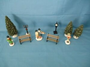Lot of 10 Christmas Village Accessories People Park Benches Trees Lamp Clock