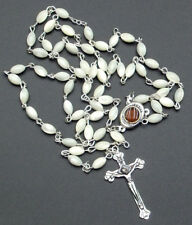 1st Communion Gift, Mother of Pearl Bead Rosary w/holyland Soil Center.