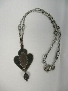 SIGNED KIM OTTERBEIN STERLING SILVER w ETCHED ARROW & BEAD PENDANT NECKLACE