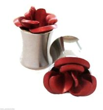 Pair-Rose Red On Steel Double Flare Ear Plugs 05mm/4 Gauge Body Jewelry