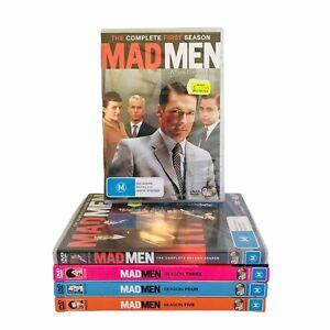 MAD MEN DVD Seasons 1-2 New & Sealed Seasons 3-5 EUC - Region 4 AUS - FREE POST