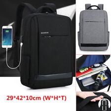 "Waterproof Men Women 15.6"" Laptop Backpack Travel School Document Bag USB Port"