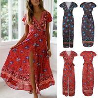 Mode Damen Kurzarm Boho Blumen Drucken Maxikleid V-ausschnitt Lange Strandkleid