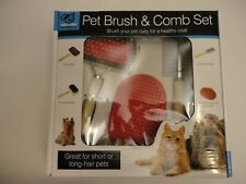 Kit Brush Comb Set Dog Cat Grooming Pets Shedding Hair Shower Combo Pet Dmgd Box