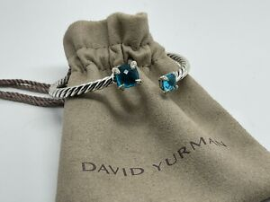 David Yurman Sterling Silver 4mm Chatelaine Bypass Blue Topaz Diamond Bracelet