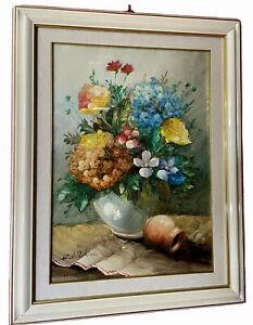 quadro dipinto a ad olio su tela natura morta fiori 50x70 cornice stile antico