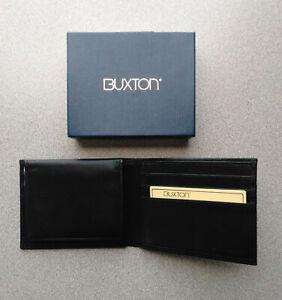 New - Mens - Genuine Black Leather - Buxton Bi-Fold Wallet - Retail Box